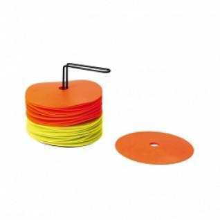 Kit van 24 schijven met houder (12 geel + 12 oranje)