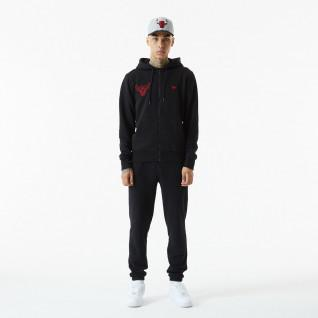 Sweatshirt à capuche zippé New Era NBA Chain Stitch Chicago Bulls